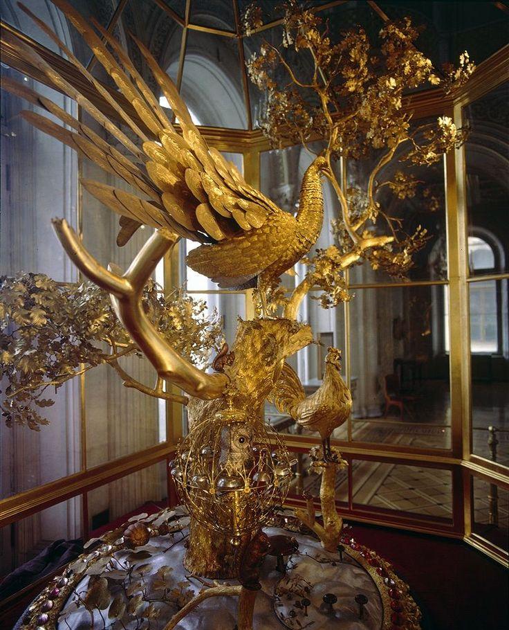 Часы с павлином на схеме эрмитажа