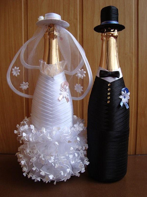 Как красиво украсить бутылку на свадьбу своими руками 55