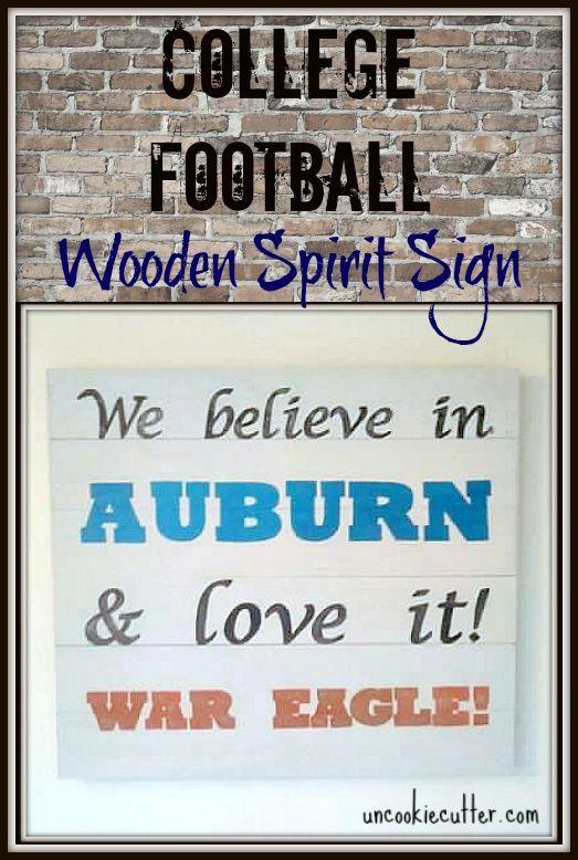 College Football Wooden Spirit Sign -