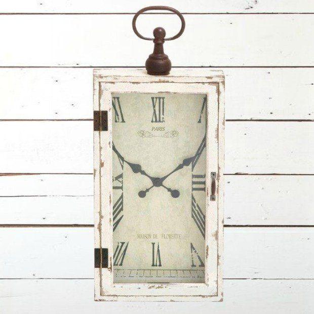 Rectangular Rustic Wood Metal Wall Clock...