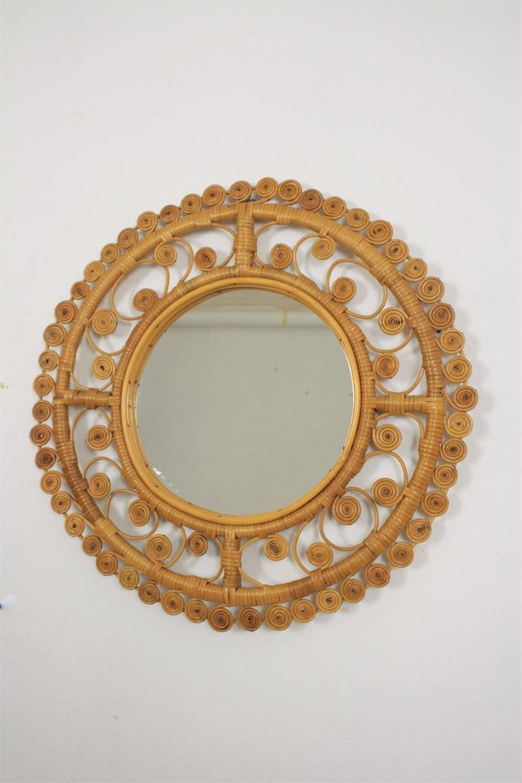 Spanish Filigree Wicker and Bamboo Circular Mirror, 1960s | From a unique collec...