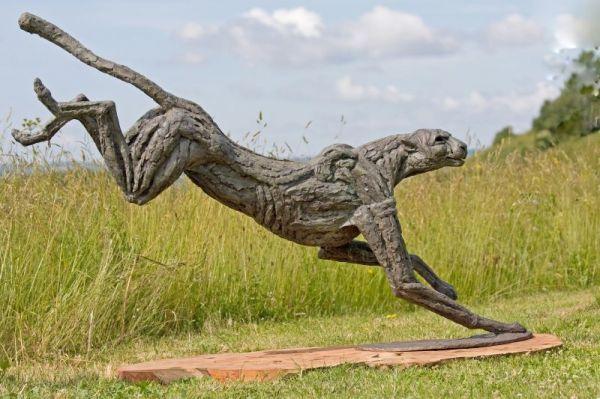 Bronze lost wax #sculpture by #sculptor Jan Sweeney titled: 'Big Landing Cheetah...