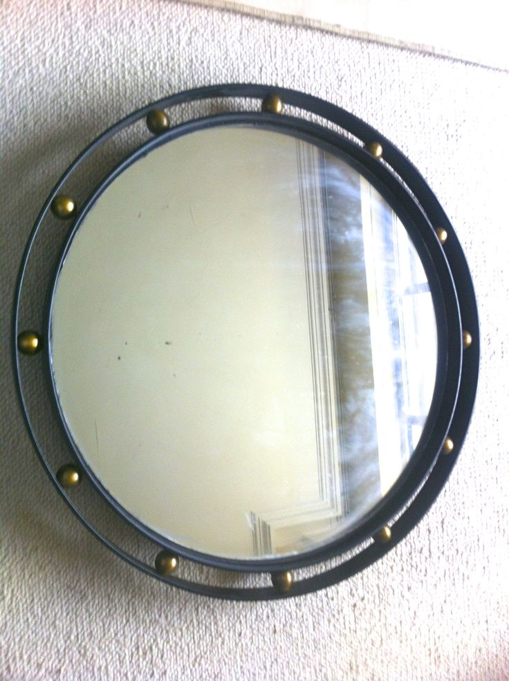 Jean Royere Rare and Documented Wrought Iron & Brass Mirror in Vintage Condition...