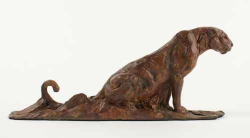 #Bronze #sculpture by #sculptor David Mayer titled: 'Leopard Maquette (Small Bro...
