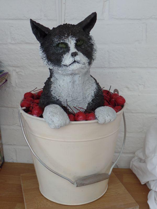 Bronze resin #sculpture by #sculptor Dreene Cotton titled: 'CAT in CHERRIES (Buc...