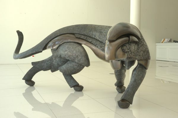 #Bronze #sculpture by #sculptor Keith Calder titled: 'LEOPARD (Bronze Lifesize M...