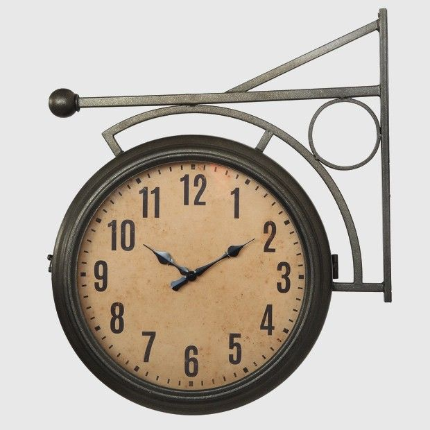 Clocks Decor Objects Metal 2 Sided Station Clock Decor Object Your Daily Dose Of Best Home Decorating Ideas Amp Interior Design Inspiration