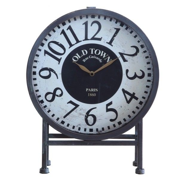 Large Metal Old Town Mantel Clock...