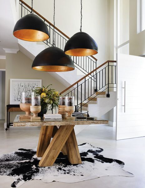 I love these large and striking black and copper pendants.