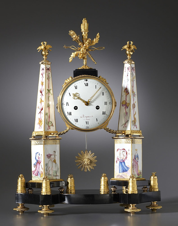 Unusual and Lovely French Antique Louis XVI Gilt Bronze Mantle Clock, with Paris...