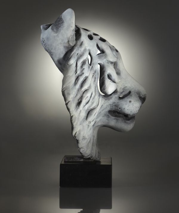 Bronze on slate plinth #sculpture by #sculptor Laura Lian titled: 'Ghost Tiger (...