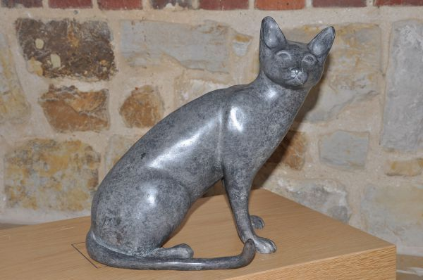 #Bronze #sculpture by #sculptor Lynda Hukins titled: 'Cat (Sitting Alert Stylise...