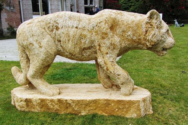 Ham #stone #sculpture by #sculptor Pippa Unwin titled: 'Tiger (SOLD Pacing Stalk...