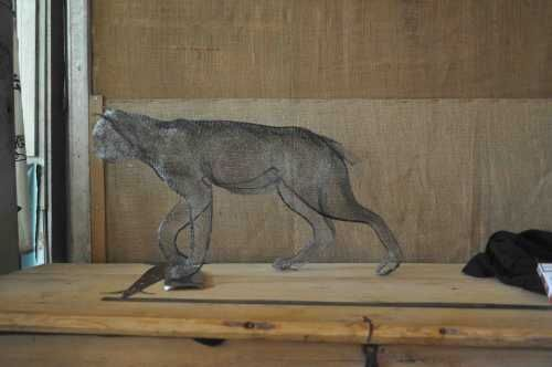 Simple #mesh #sculpture by #sculptor Kakhi Eradze titled: 'Bob Cat (Prowling Hun...