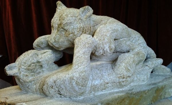 #Stone #sculpture by #sculptor Pippa Unwin titled: 'Tiger Cubs (Carved stone gar...