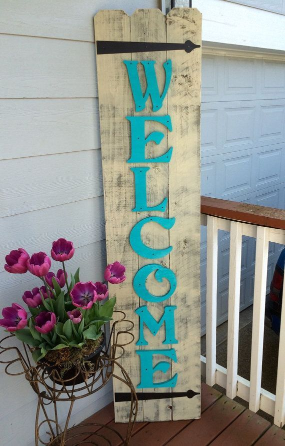 awesome sign decor best decor hacks front porch teal wood sign  front porch welcome  best decor hacks front porch teal