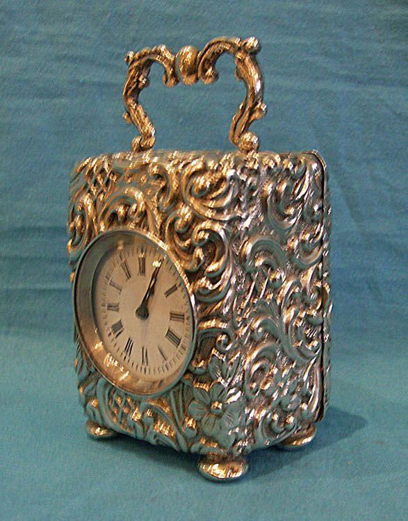 Antique English silver miniature carriage clock. - Gavin Douglas Antiques