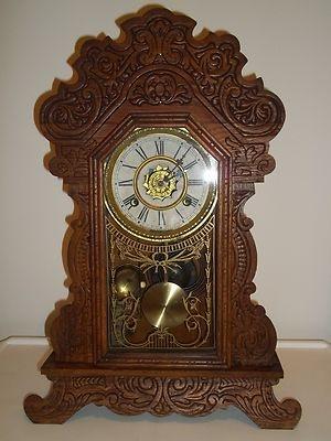Antique Victorian Waterbury Carved Pressed Oak Mantel Shelf Parlor Clock | eBay