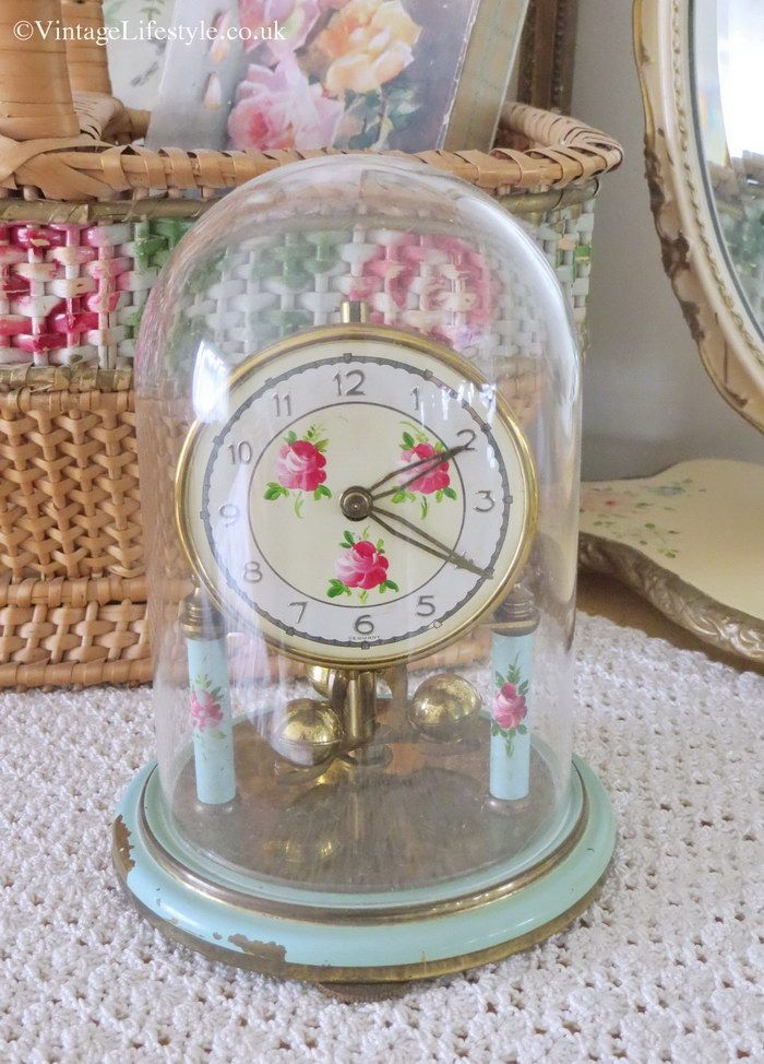 Aqua blue Anniversary Clock with painted pink roses- divine colours.......