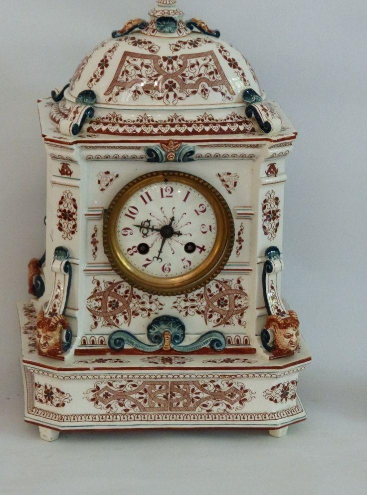 Garniture De Cheminée, Pendule Et Chandeliers, Faience De Longwy, XIX ème...