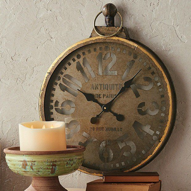 Antiqued Gold Pocket Watch Wall Clock...