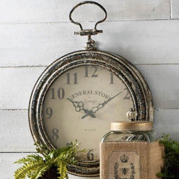Aged Metal Pocket Watch Wall Clock