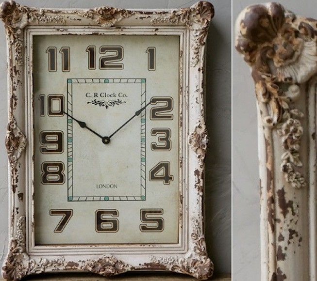 Clocks - Decor Objects: Large Distressed White Wall Clock - Decor ...