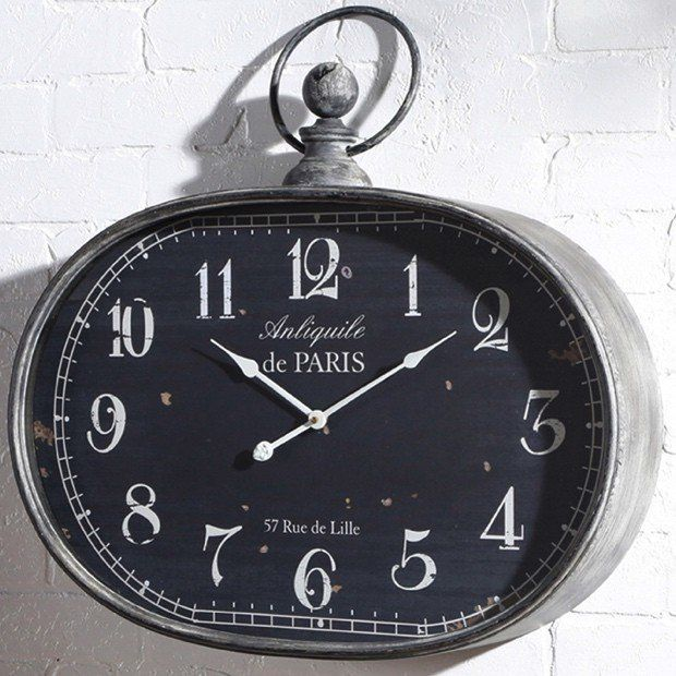 Large Oval Pocket Watch Wall Clock