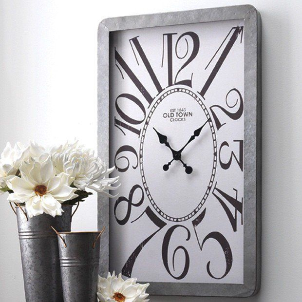 Clocks decor objects modern farmhouse galvanized wall for Modern home decor objects