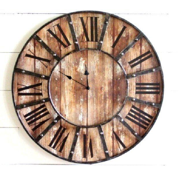 Oversized Wooden Farmhouse Wall Clock...