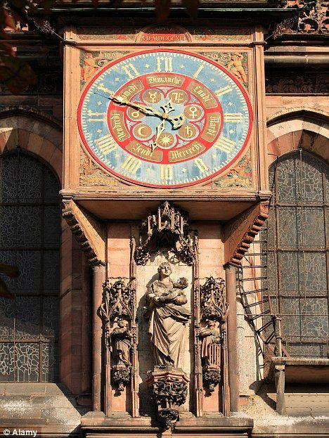 Ornate: One of the city's clocks. The 15th Century cathedral's timepiece...