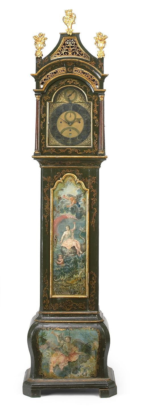 Antique parcel gilt paint decorated musical tall case clock by Percival Mann, Lo...