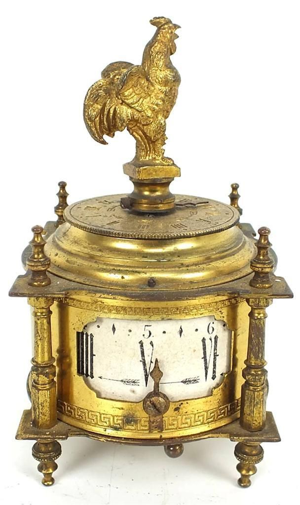 Rare Antique Farcot figural cockerel alarm mantle clock bedside gilt table clock...