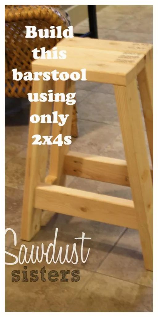 Build this barstool using only 2x4s. Tutorial at sawdustsisters.com...