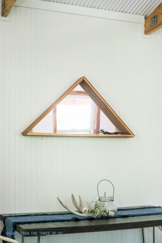 Use your woodworking skills to make this Triangle Mirror out of Scrap Wood!