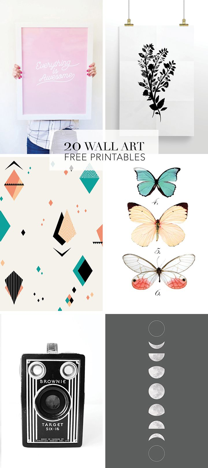 picture relating to Free Printable Wall Art Decor named Decor Hacks : 20 Favored Wall Artwork No cost Printables