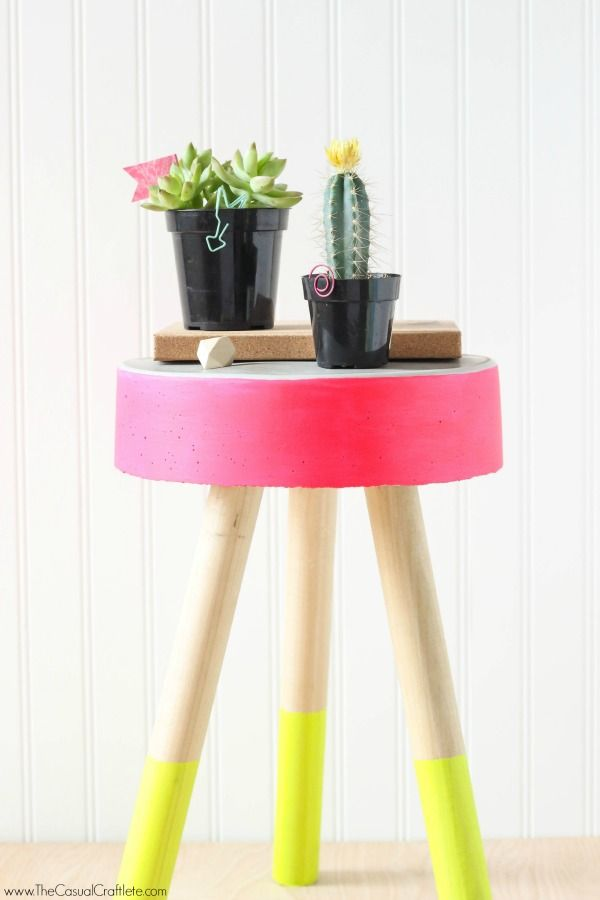 DIY Concrete Stool – easy to make bucket concrete stool for just $5. Add fun b...