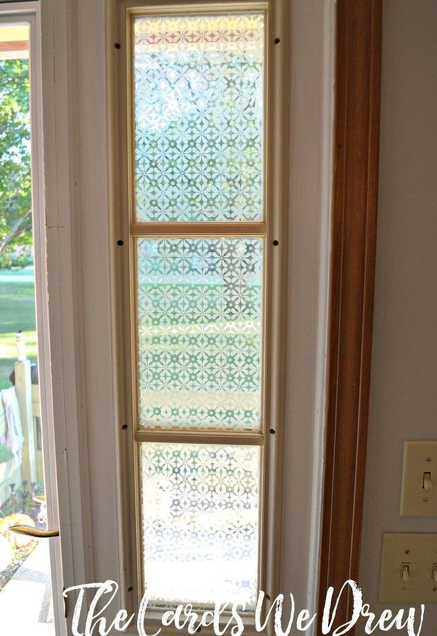 Decor hacks glass etched front door side window crafts for Art glass windows and doors