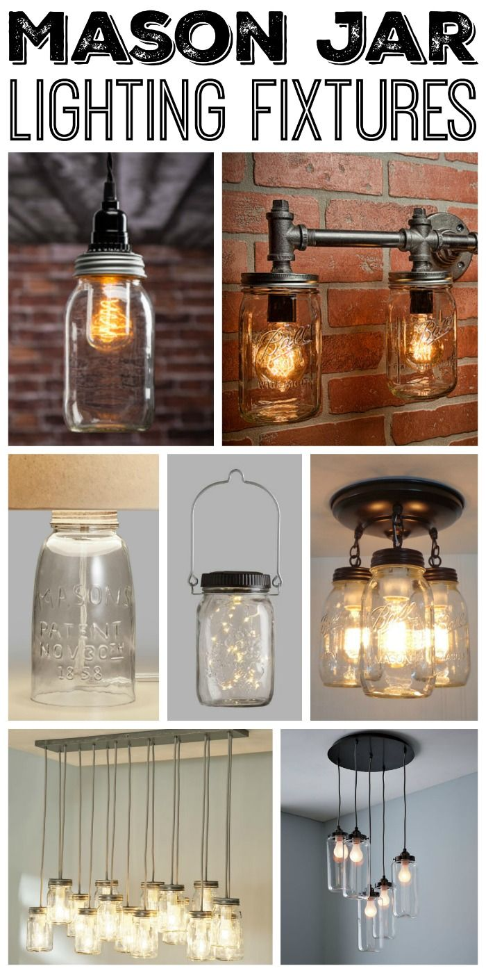 Great mason jar lighting fixtures for your rustic home!