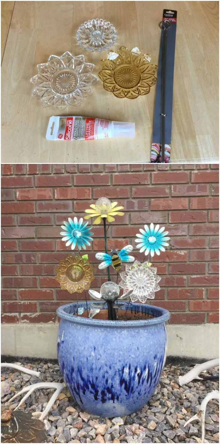 Decor hacks inexpensive and easy dish flowers for your for Inexpensive garden decor