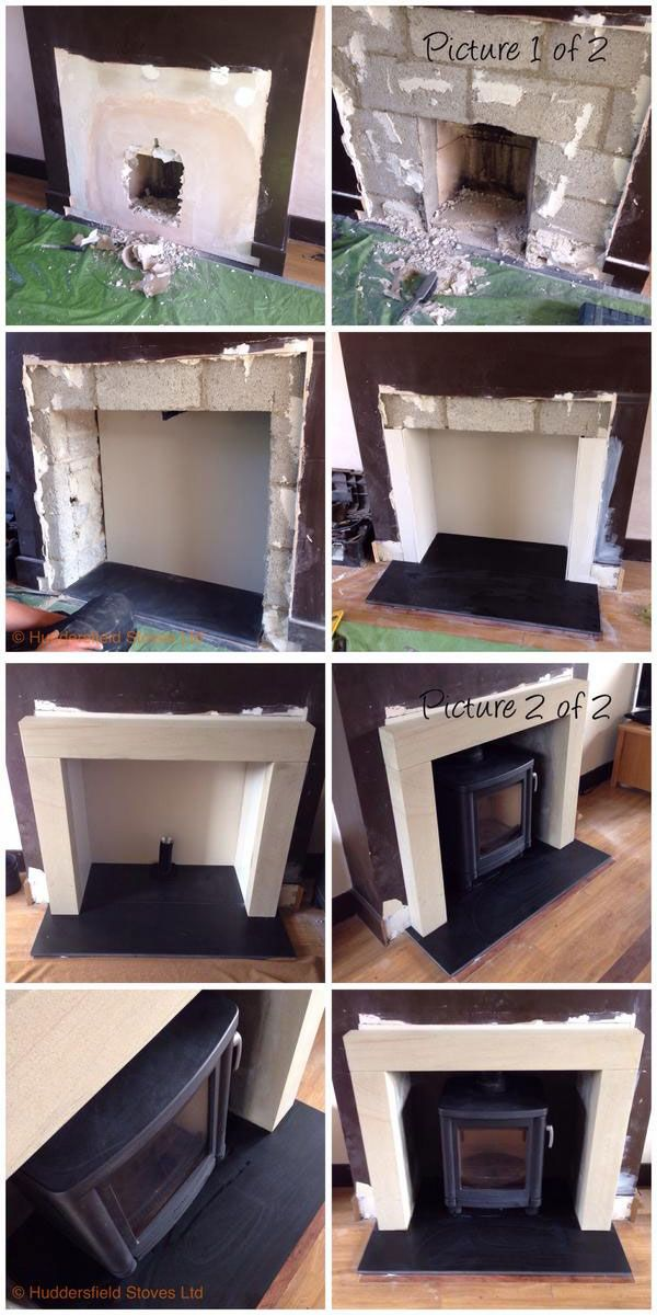 Installation of the cast iron woodburner Contura 51L with low legs. Looking grea...
