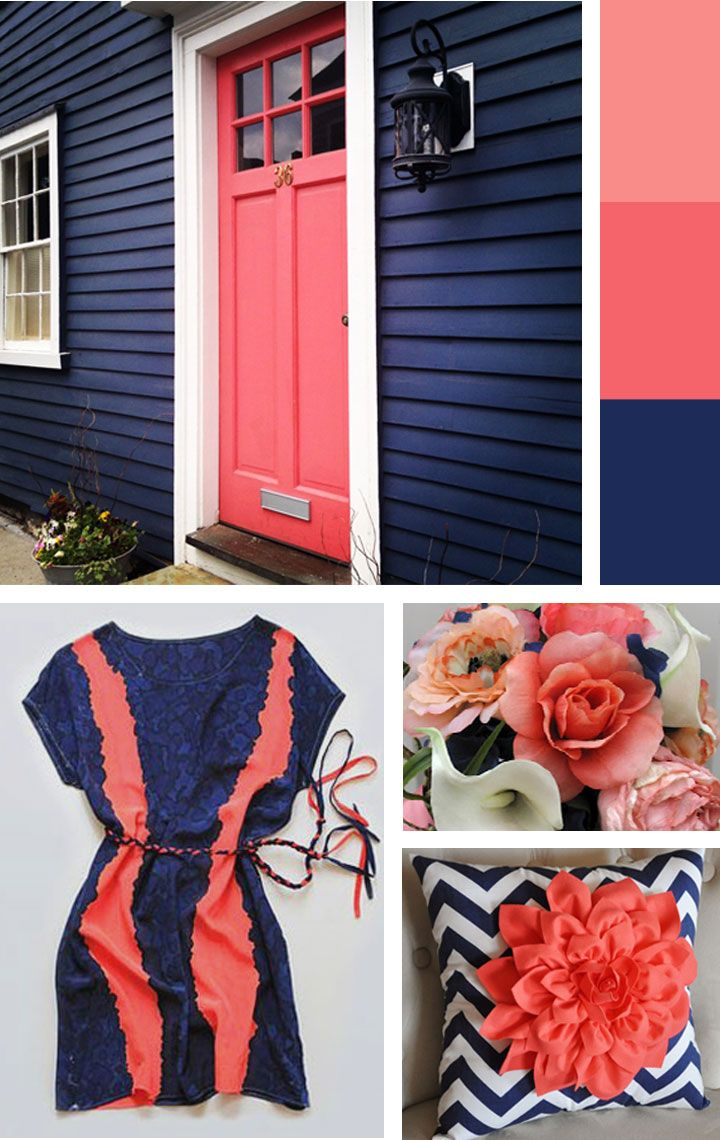 Love these inspiration pics, blue and coral bedrooms color schemes | amykathryn ...