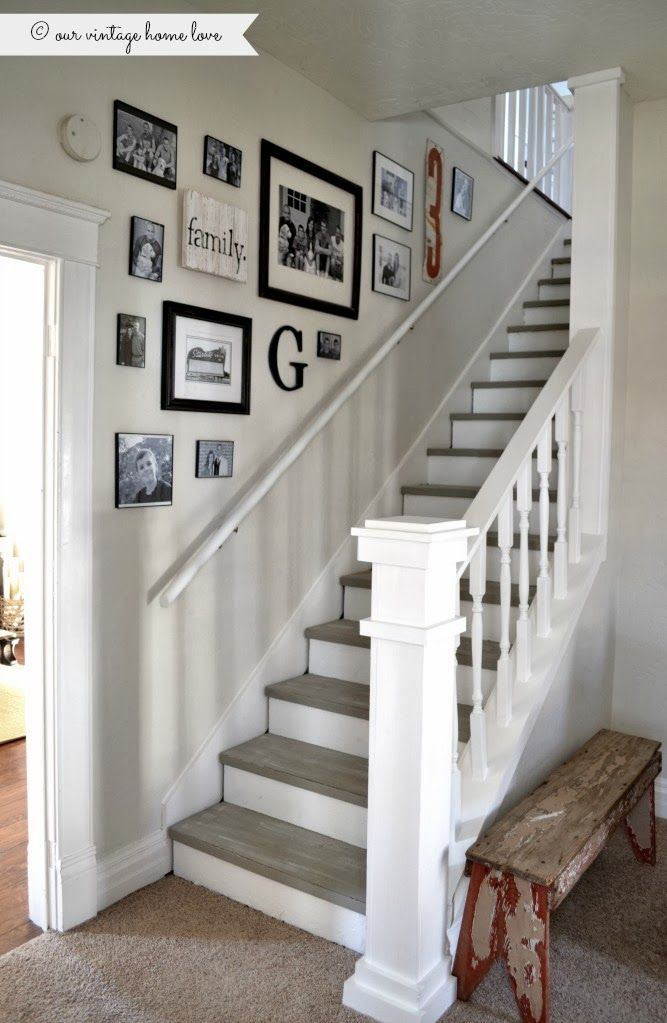 Stairway renovation ~ cut out wall and add spindles/rail, paint steps with chalk...