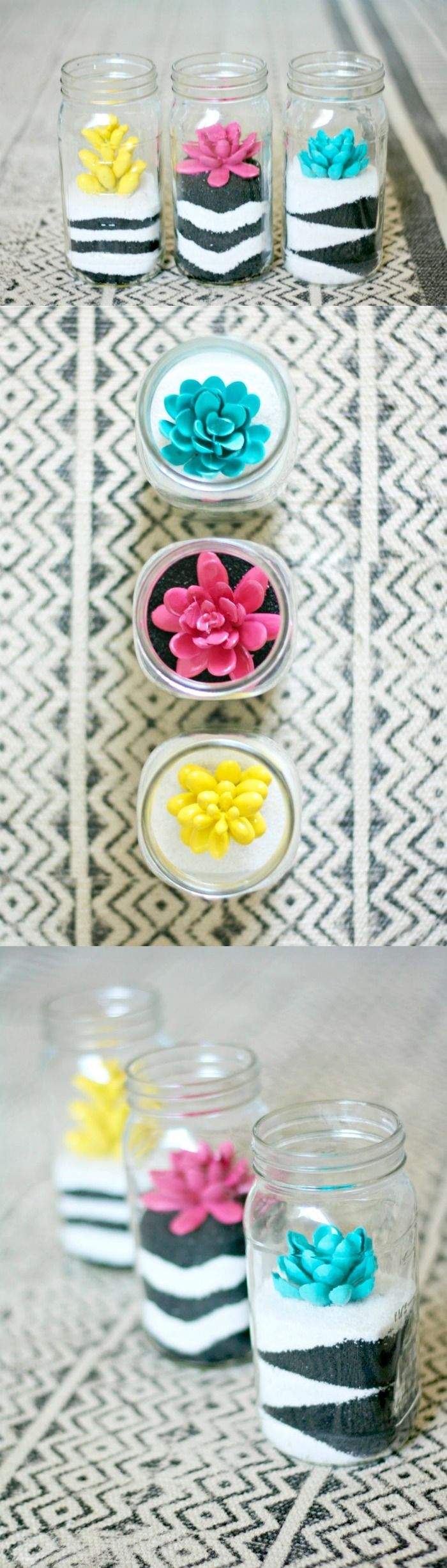 These sand art terrariums are a perfect pairing of a craft you loved as a kid co...