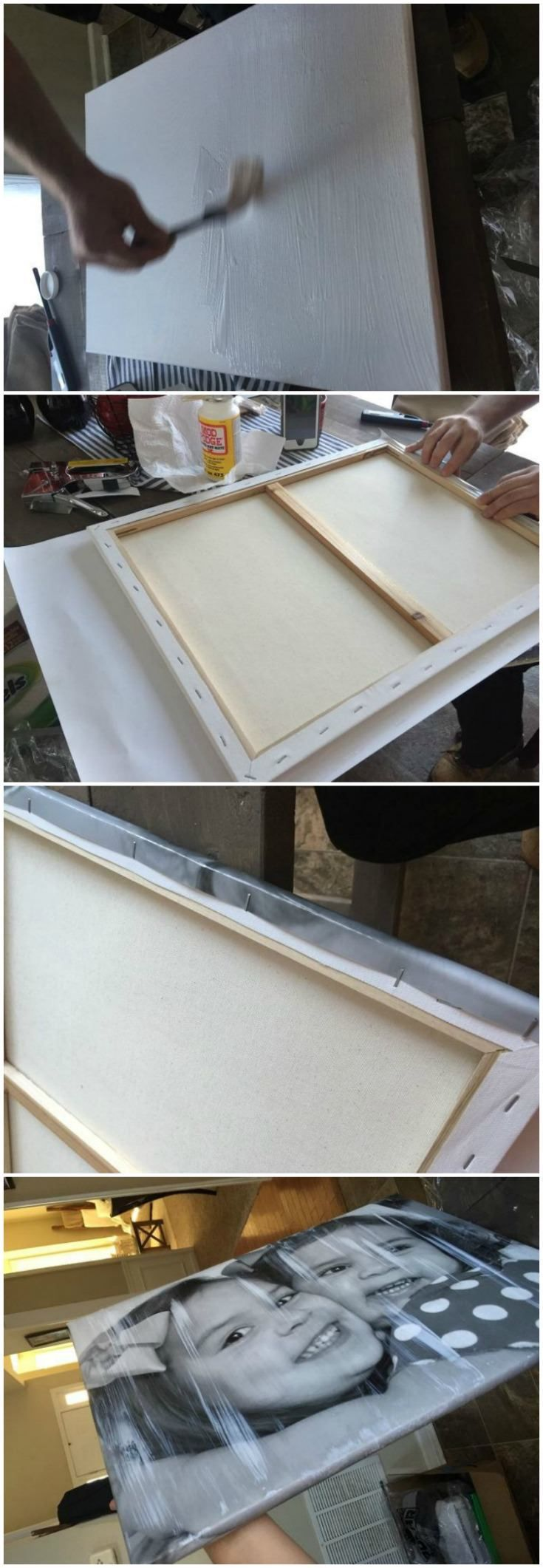 decor hacks this is the best way to attach photos to canvas with mod podge it 39 s easy. Black Bedroom Furniture Sets. Home Design Ideas