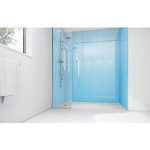 Wickes Sky Blue Acrylic 1700 x 900mm 3 Sided Shower Panel Kit | Wickes.co.uk...