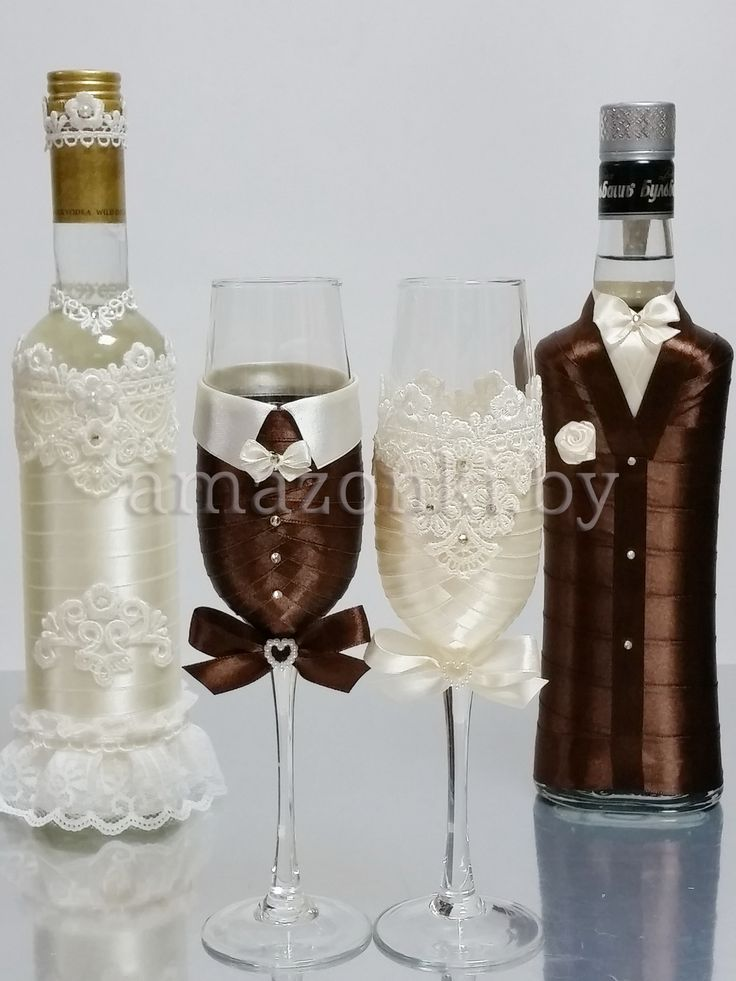 Украшение свадебных бокалов «Пара»   Агентство Амазонки
