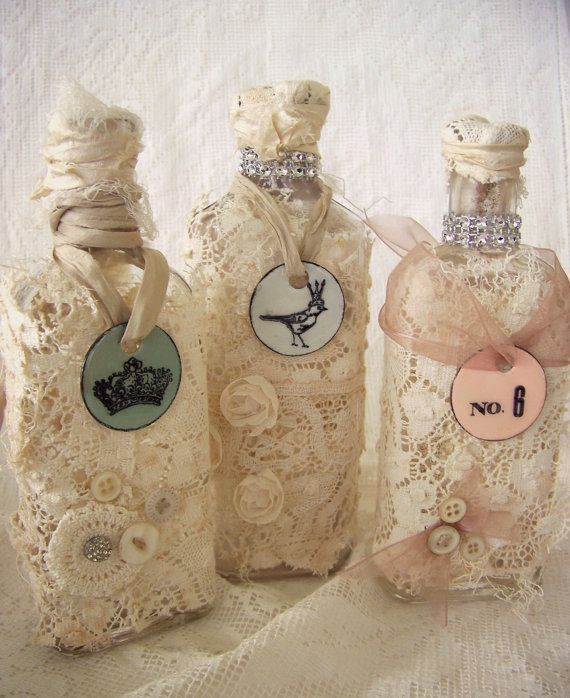 Decorative bottles altered apothecary bottle shabby for Pool design by laly