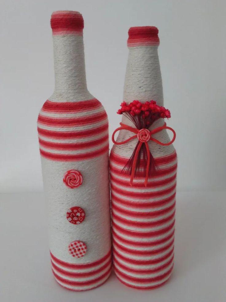 Decorative bottles garrafas decoradas com barbante for Pool design by laly
