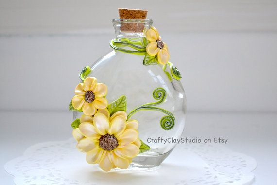 Decorative Bottles Sculpted Flowers Flower Decor Polymer Clay